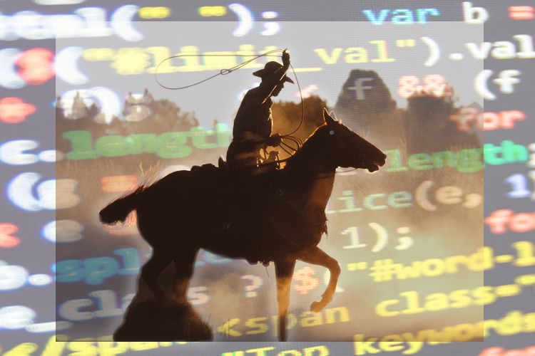 Image of a cowboy on a horse, whirling a lasso in the air, on a background of computer data